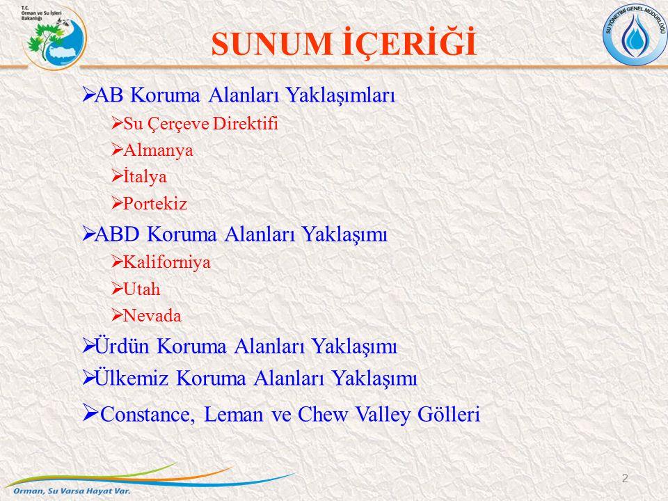 AB Koruma Alanları Yaklaşımları 3  Su Çerçeve Direktifi  6.