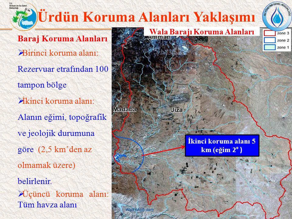 27 Ürdün Koruma Alanları Yaklaşımı Wala Barajı Koruma Alanları Baraj Koruma Alanları  Birinci koruma alanı: Rezervuar etrafından 100 tampon bölge  İ