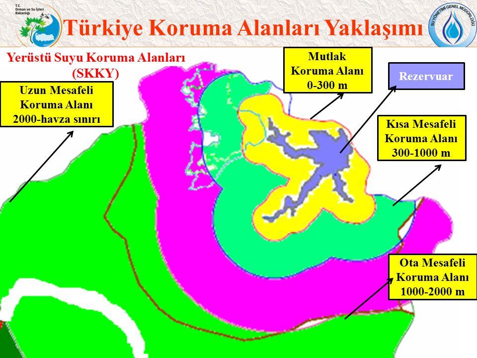 34 Türkiye Koruma Alanları Yaklaşımı Rezervuar Yerüstü Suyu Koruma Alanları (SKKY) Mutlak Koruma Alanı 0-300 m Kısa Mesafeli Koruma Alanı 300-1000 m O