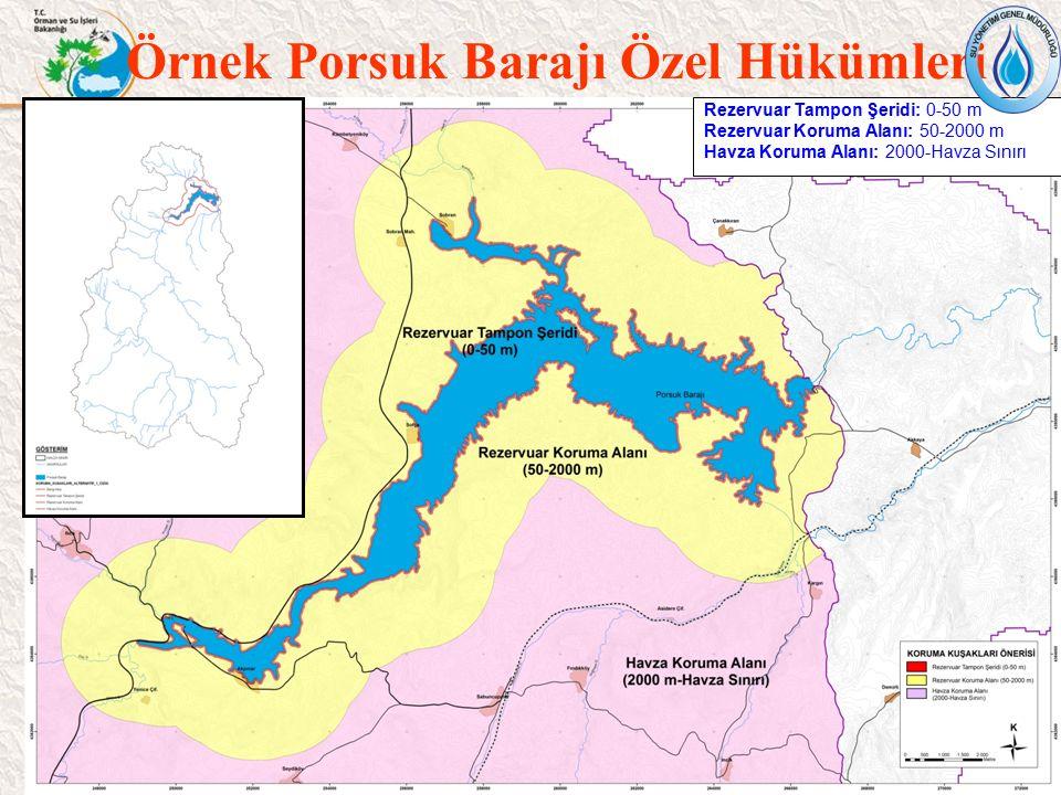 35 Rezervuar Tampon Şeridi: 0-50 m Rezervuar Koruma Alanı: 50-2000 m Havza Koruma Alanı: 2000-Havza Sınırı Örnek Porsuk Barajı Özel Hükümleri