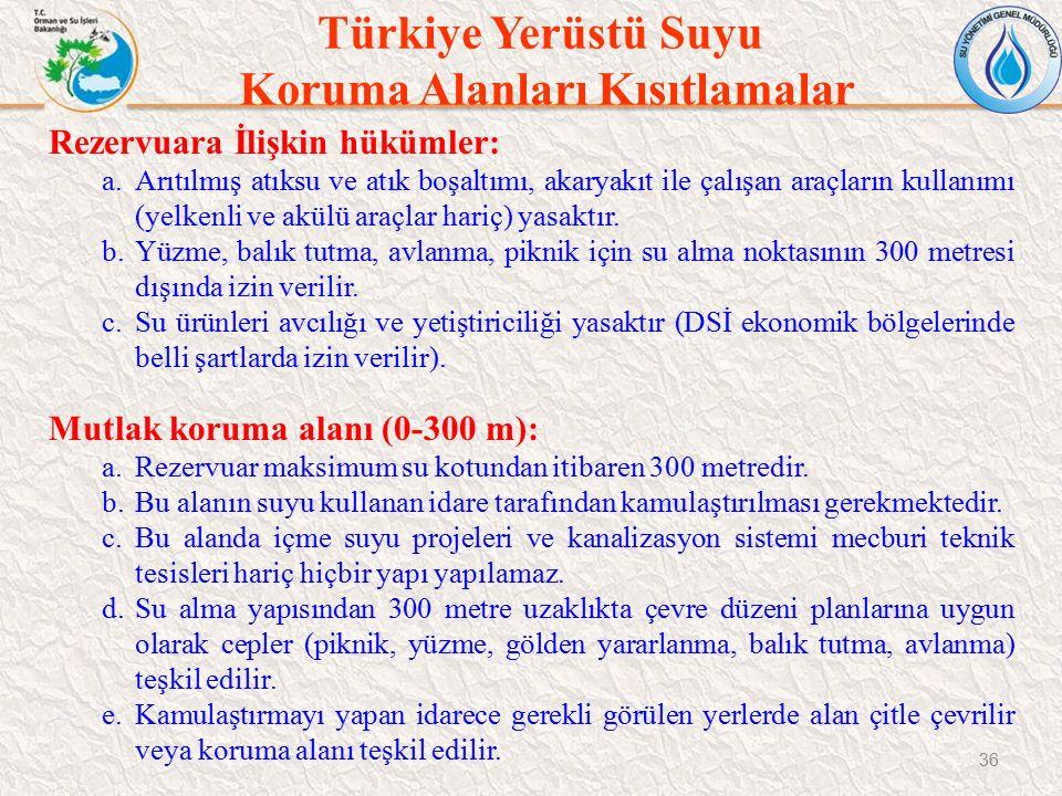 Türkiye Yerüstü Suyu Koruma Alanları Kısıtlamalar 36 Rezervuara İlişkin hükümler: a.Arıtılmış atıksu ve atık boşaltımı, akaryakıt ile çalışan araçları
