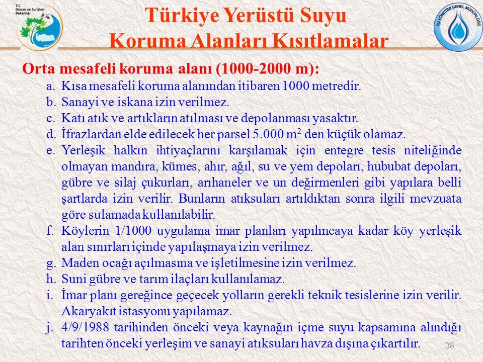 Türkiye Yerüstü Suyu Koruma Alanları Kısıtlamalar 38 Orta mesafeli koruma alanı (1000-2000 m): a.Kısa mesafeli koruma alanından itibaren 1000 metredir