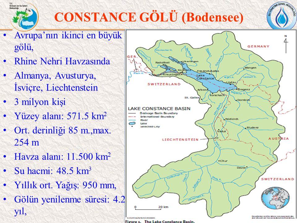 CONSTANCE GÖLÜ (Bodensee) 43 Avrupa'nın ikinci en büyük gölü, Rhine Nehri Havzasında Almanya, Avusturya, İsviçre, Liechtenstein 3 milyon kişi Yüzey al