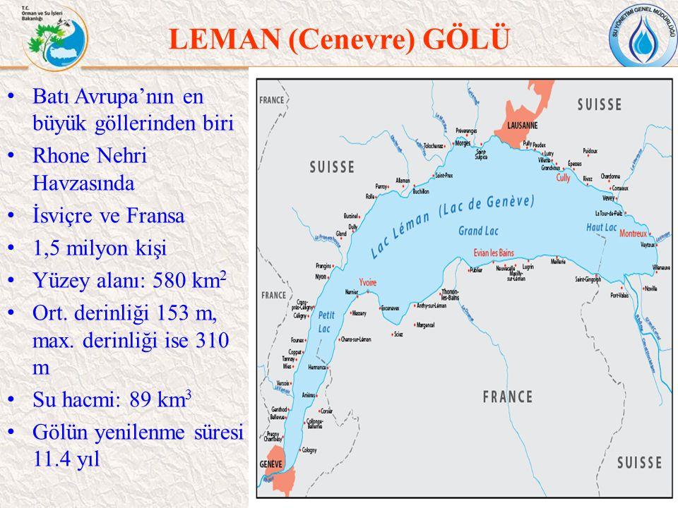 LEMAN (Cenevre) GÖLÜ 45 Batı Avrupa'nın en büyük göllerinden biri Rhone Nehri Havzasında İsviçre ve Fransa 1,5 milyon kişi Yüzey alanı: 580 km 2 Ort.