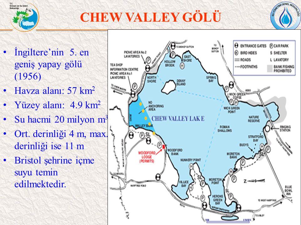 CHEW VALLEY GÖLÜ 47 İngiltere'nin 5. en geniş yapay gölü (1956) Havza alanı: 57 km 2 Yüzey alanı: 4.9 km 2 Su hacmi 20 milyon m 3 Ort. derinliği 4 m,