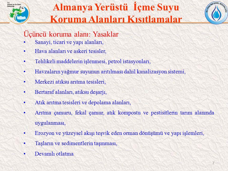Türkiye Yerüstü Suyu Koruma Alanları Kısıtlamalar 38 Orta mesafeli koruma alanı (1000-2000 m): a.Kısa mesafeli koruma alanından itibaren 1000 metredir.