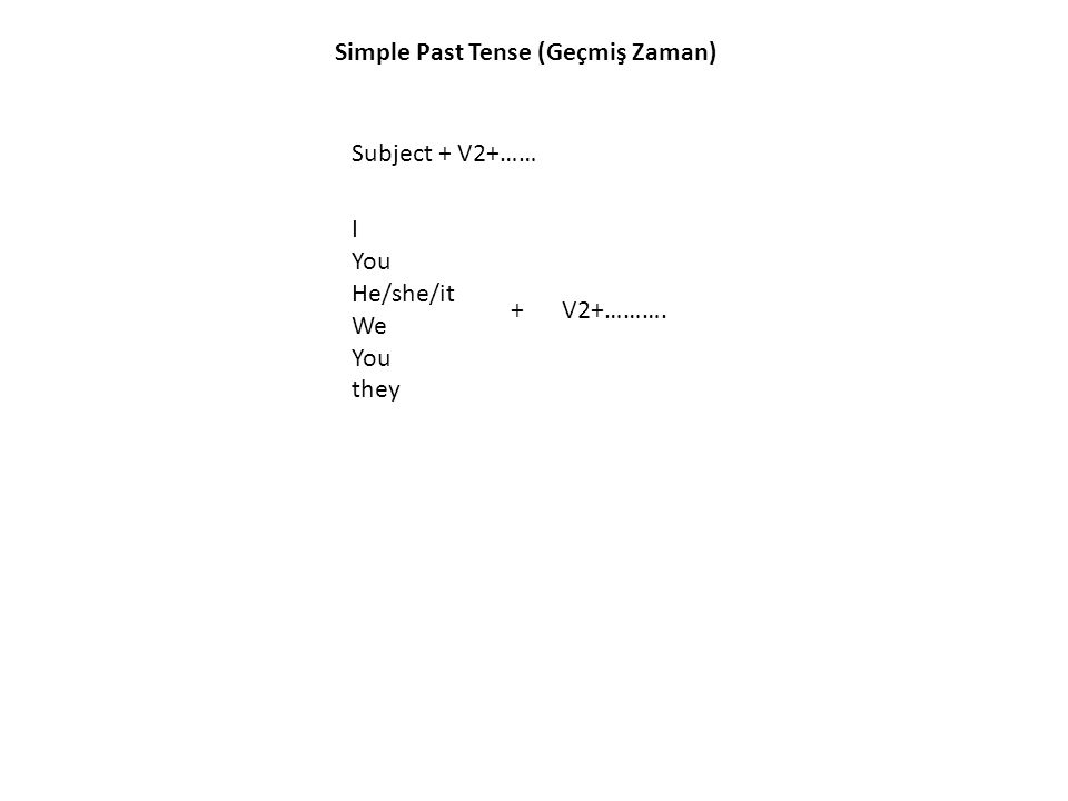 Simple Past Tense (Geçmiş Zaman) Subject + V2+…… I You He/she/it We You they +V2+……….