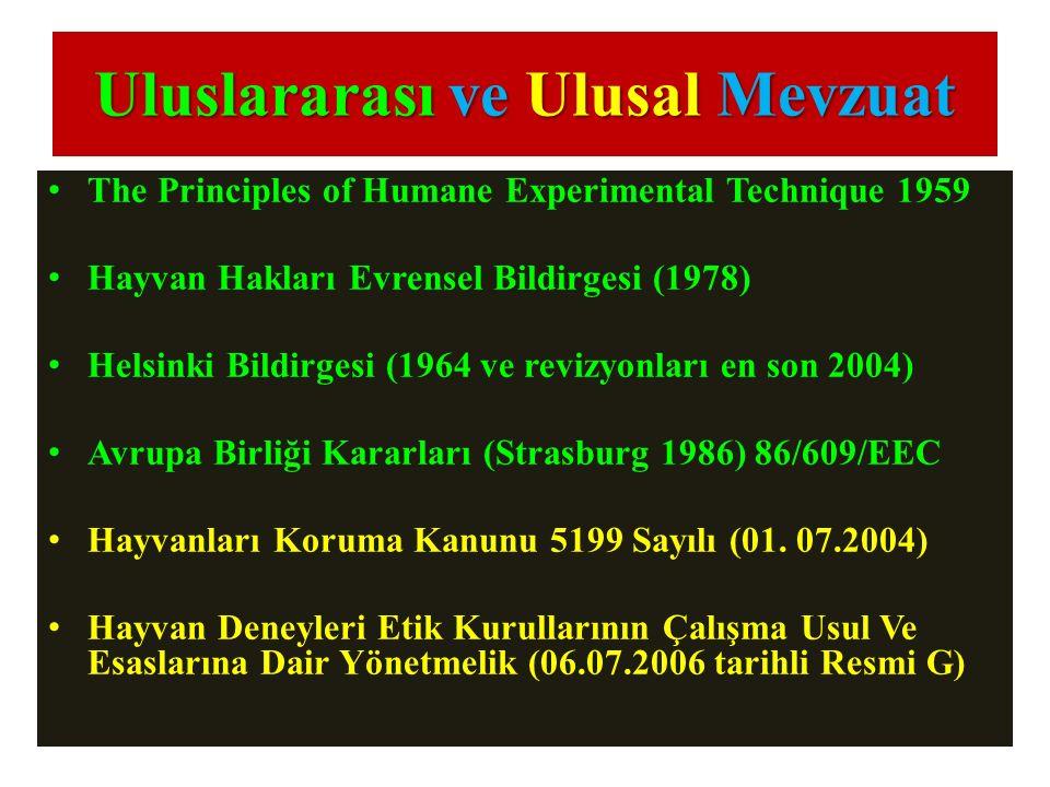 Uluslararası ve Ulusal Mevzuat The Principles of Humane Experimental Technique 1959 Hayvan Hakları Evrensel Bildirgesi (1978) Helsinki Bildirgesi (196