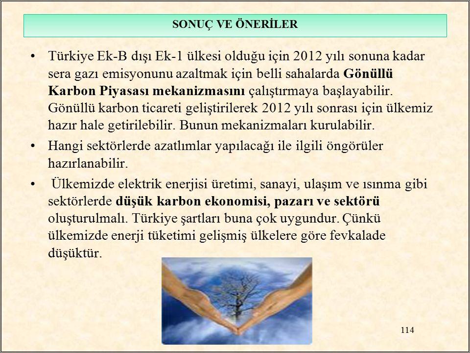 Türkiye Ek-B dışı Ek-1 ülkesi olduğu için 2012 yılı sonuna kadar sera gazı emisyonunu azaltmak için belli sahalarda Gönüllü Karbon Piyasası mekanizmas