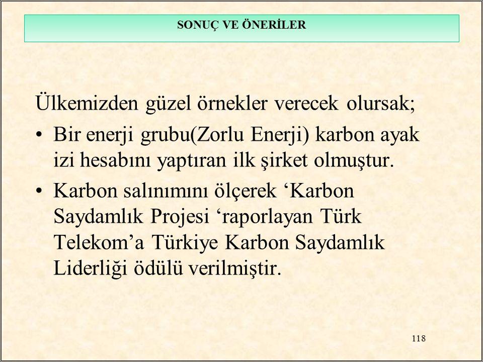 Ülkemizden güzel örnekler verecek olursak; Bir enerji grubu(Zorlu Enerji) karbon ayak izi hesabını yaptıran ilk şirket olmuştur. Karbon salınımını ölç