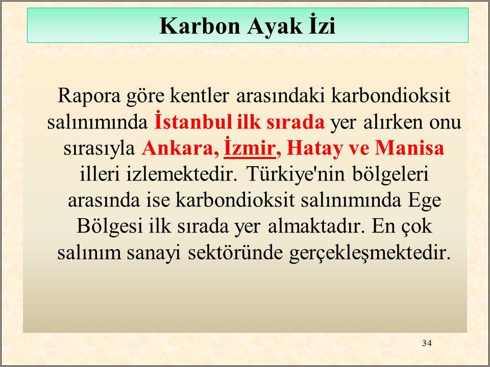 Rapora göre kentler arasındaki karbondioksit salınımında İstanbul ilk sırada yer alırken onu sırasıyla Ankara, İzmir, Hatay ve Manisa illeri izlemekte