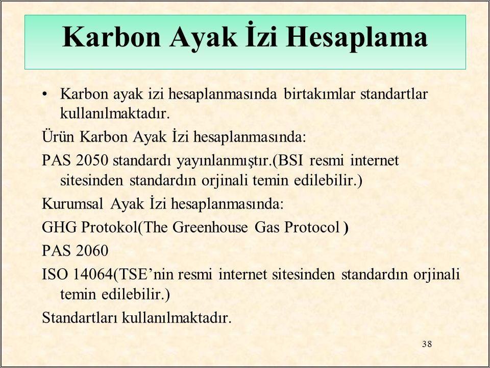 Karbon ayak izi hesaplanmasında birtakımlar standartlar kullanılmaktadır. Ürün Karbon Ayak İzi hesaplanmasında: PAS 2050 standardı yayınlanmıştır.(BSI