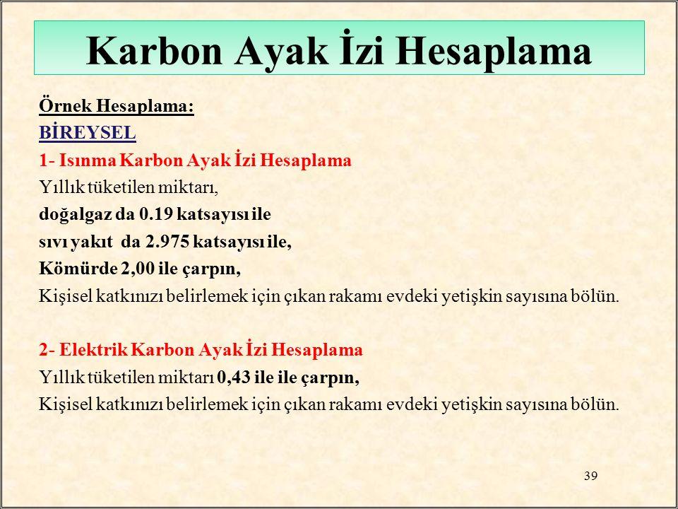 Karbon Ayak İzi Hesaplama Örnek Hesaplama: BİREYSEL 1- Isınma Karbon Ayak İzi Hesaplama Yıllık tüketilen miktarı, doğalgaz da 0.19 katsayısı ile sıvı