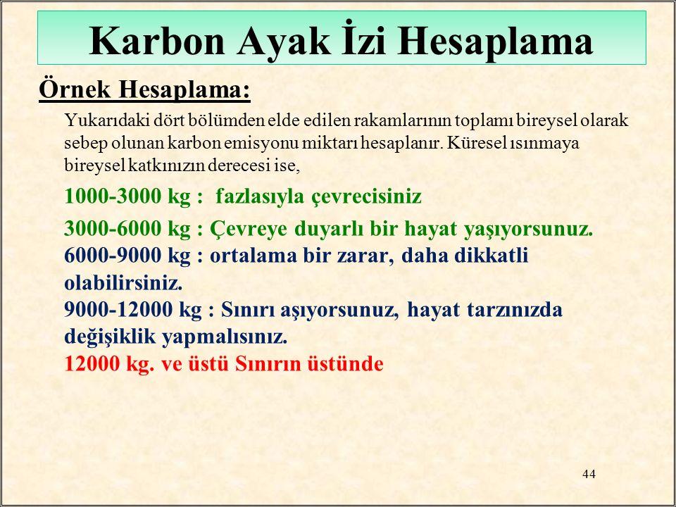 Karbon Ayak İzi Hesaplama Örnek Hesaplama: Yukarıdaki dört bölümden elde edilen rakamlarının toplamı bireysel olarak sebep olunan karbon emisyonu mikt