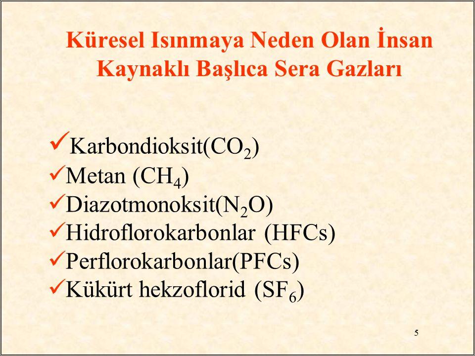 Küresel Isınmaya Neden Olan İnsan Kaynaklı Başlıca Sera Gazları Karbondioksit(CO 2 ) Metan (CH 4 ) Diazotmonoksit(N 2 O) Hidroflorokarbonlar (HFCs) Pe