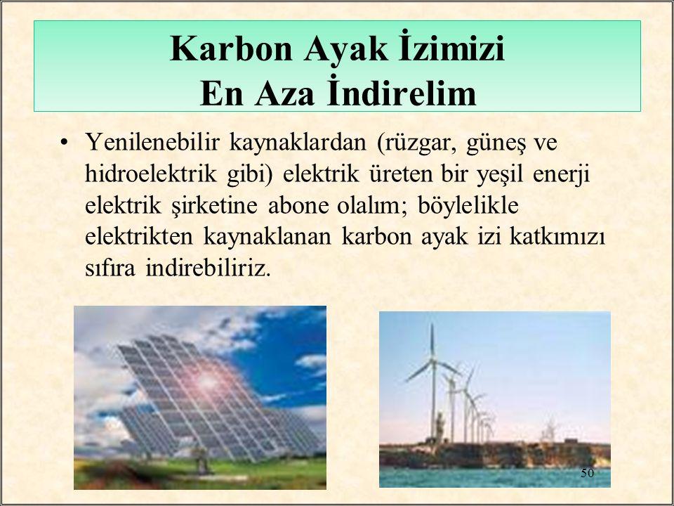 Karbon Ayak İzimizi En Aza İndirelim Yenilenebilir kaynaklardan (rüzgar, güneş ve hidroelektrik gibi) elektrik üreten bir yeşil enerji elektrik şirket