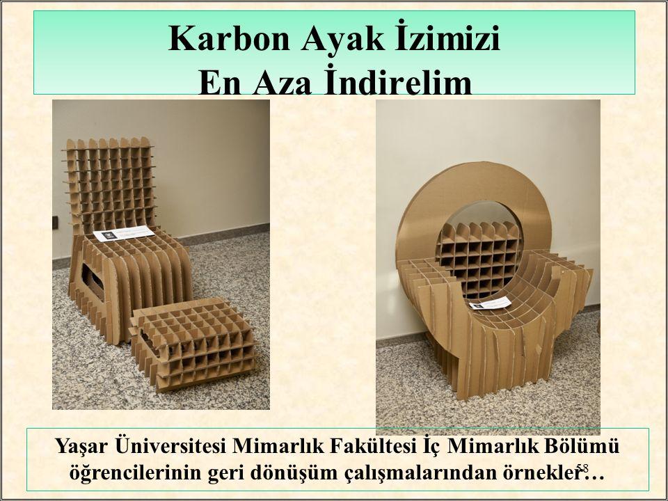 Karbon Ayak İzimizi En Aza İndirelim Yaşar Üniversitesi Mimarlık Fakültesi İç Mimarlık Bölümü öğrencilerinin geri dönüşüm çalışmalarından örnekler… 58