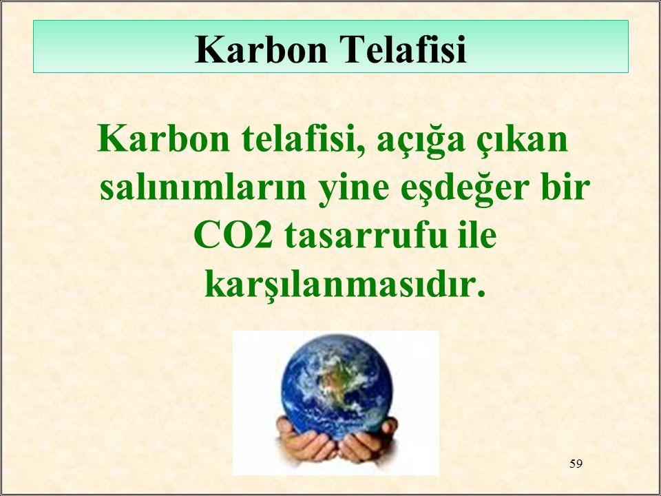 Karbon Telafisi Karbon telafisi, açığa çıkan salınımların yine eşdeğer bir CO2 tasarrufu ile karşılanmasıdır. 59