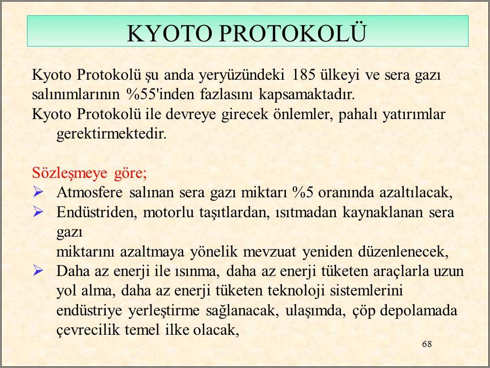 Kyoto Protokolü şu anda yeryüzündeki 185 ülkeyi ve sera gazı salınımlarının %55'inden fazlasını kapsamaktadır. Kyoto Protokolü ile devreye girecek önl