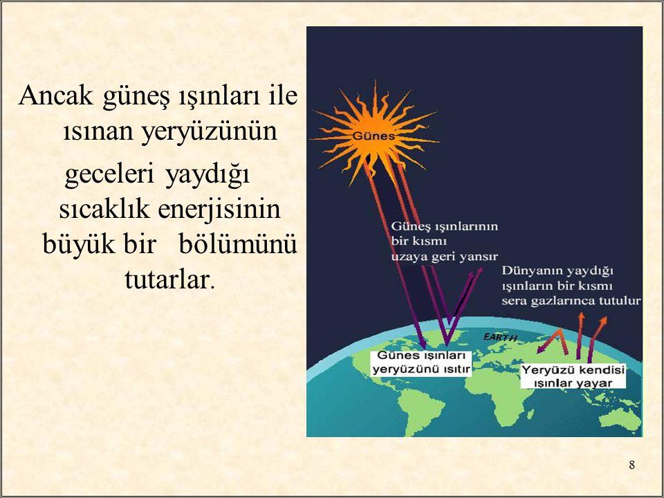 Ancak güneş ışınları ile ısınan yeryüzünün geceleri yaydığı sıcaklık enerjisinin büyük bir bölümünü tutarlar. 8