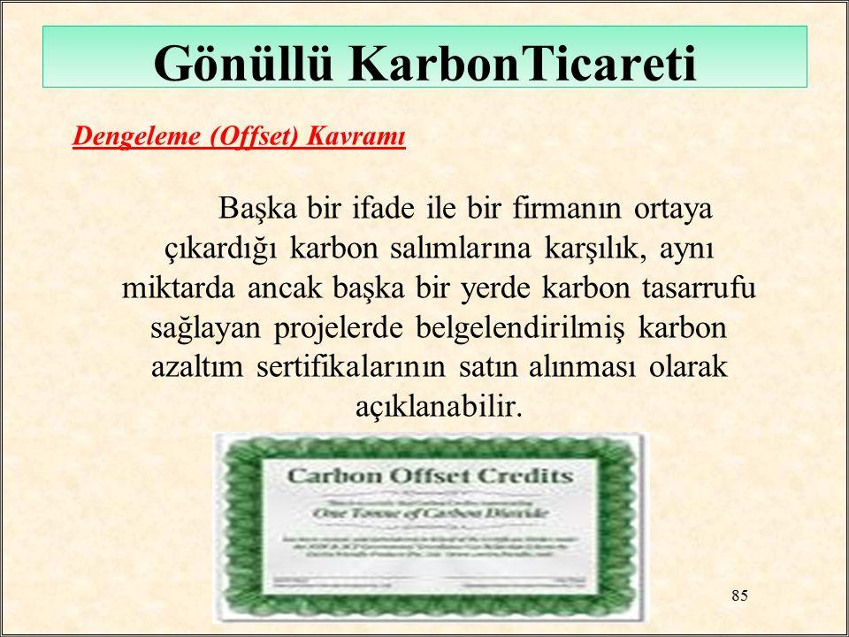 Gönüllü KarbonTicareti Dengeleme (Offset) Kavramı Başka bir ifade ile bir firmanın ortaya çıkardığı karbon salımlarına karşılık, aynı miktarda ancak b