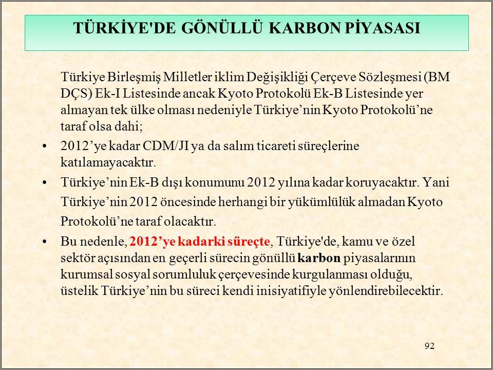 TÜRKİYE'DE GÖNÜLLÜ KARBON PİYASASI Türkiye Birleşmiş Milletler iklim Değişikliği Çerçeve Sözleşmesi (BM DÇS) Ek-I Listesinde ancak Kyoto Protokolü Ek-