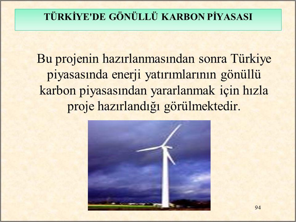 Bu projenin hazırlanmasından sonra Türkiye piyasasında enerji yatırımlarının gönüllü karbon piyasasından yararlanmak için hızla proje hazırlandığı gör