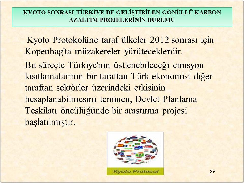 Kyoto Protokolüne taraf ülkeler 2012 sonrası için Kopenhag'ta müzakereler yürüteceklerdir. Bu süreçte Türkiye'nin üstlenebileceği emisyon kısıtlamalar