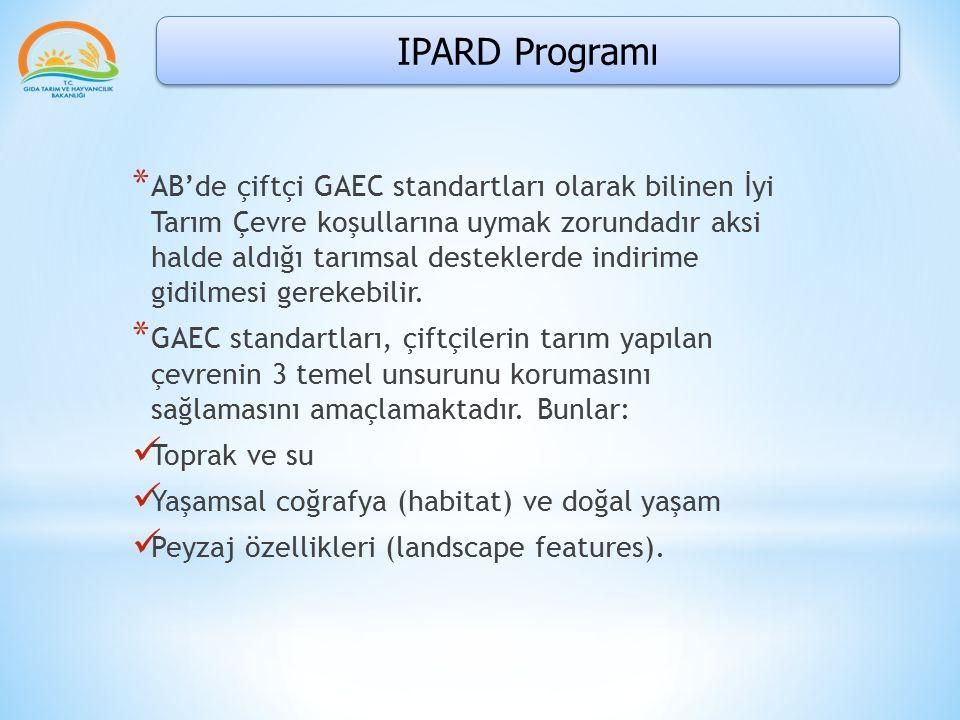 IPARD Programı * AB'de çiftçi GAEC standartları olarak bilinen İyi Tarım Çevre koşullarına uymak zorundadır aksi halde aldığı tarımsal desteklerde ind