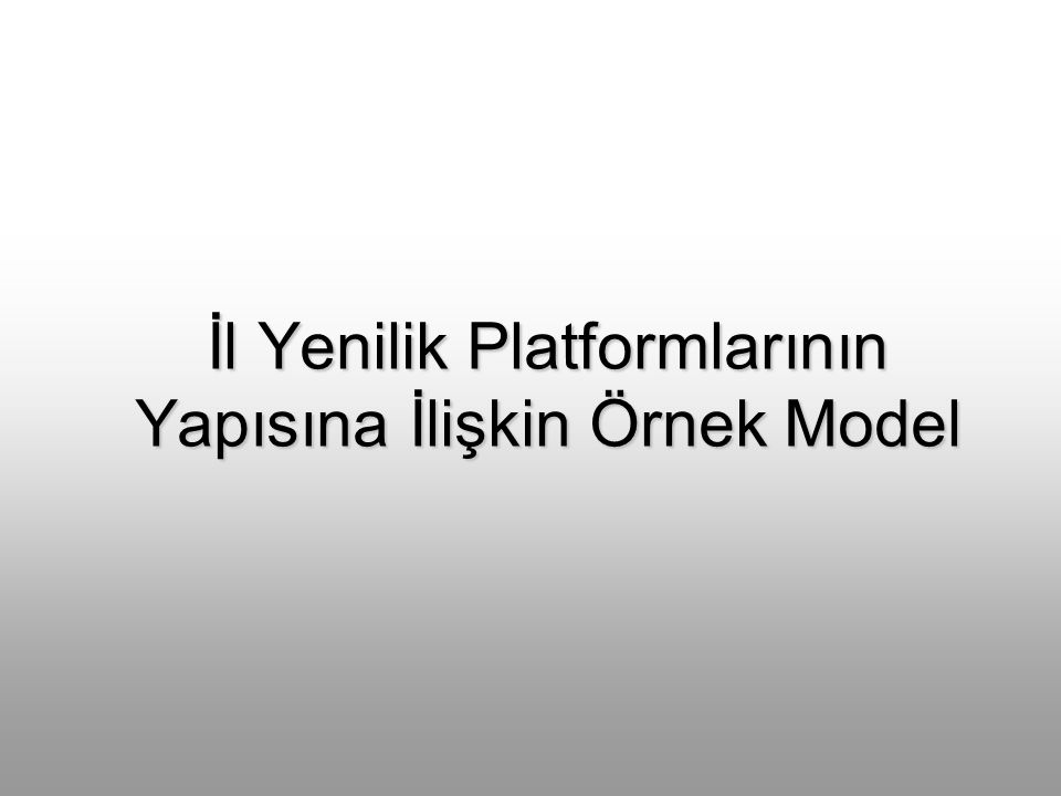 İl Yenilik Platformlarının Yapısına İlişkin Örnek Model
