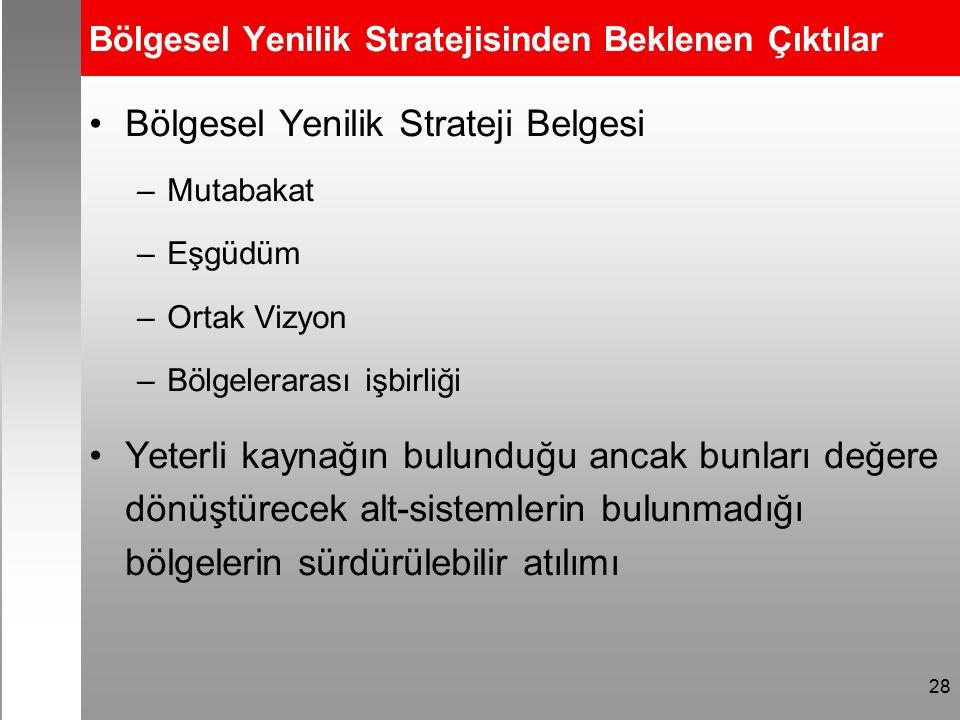 28 Bölgesel Yenilik Stratejisinden Beklenen Çıktılar Bölgesel Yenilik Strateji Belgesi –Mutabakat –Eşgüdüm –Ortak Vizyon –Bölgelerarası işbirliği Yeterli kaynağın bulunduğu ancak bunları değere dönüştürecek alt-sistemlerin bulunmadığı bölgelerin sürdürülebilir atılımı