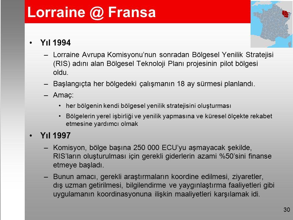 30 Lorraine @ Fransa Yıl 1994 –Lorraine Avrupa Komisyonu'nun sonradan Bölgesel Yenilik Stratejisi (RIS) adını alan Bölgesel Teknoloji Planı projesinin pilot bölgesi oldu.