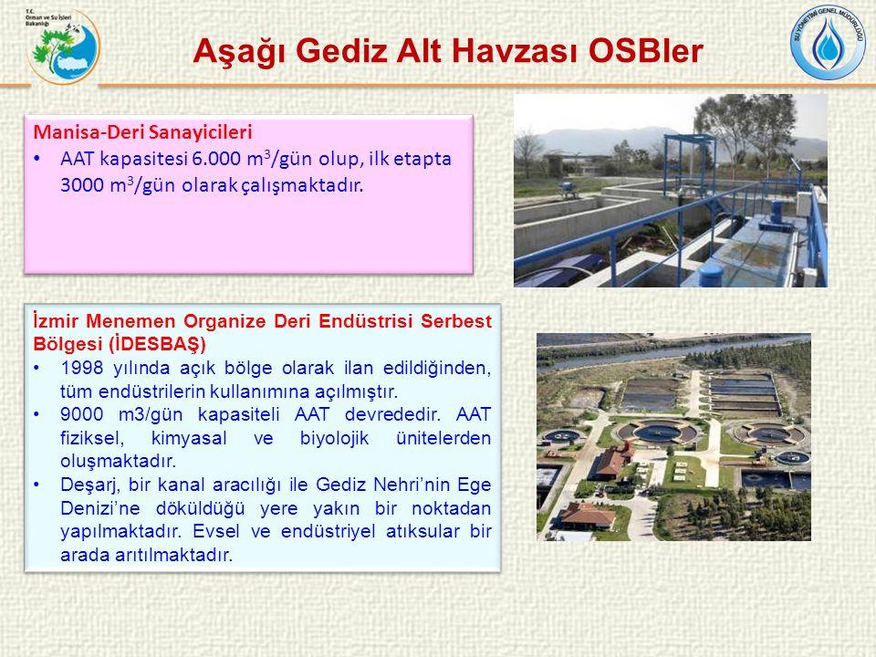 Manisa-Deri Sanayicileri AAT kapasitesi 6.000 m 3 /gün olup, ilk etapta 3000 m 3 /gün olarak çalışmaktadır.