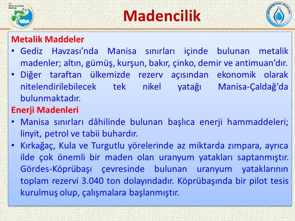 Metalik Maddeler Gediz Havzası'nda Manisa sınırları içinde bulunan metalik madenler; altın, gümüş, kurşun, bakır, çinko, demir ve antimuan'dır.