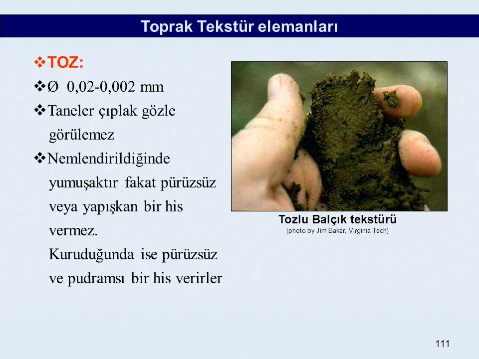 111 Toprak Tekstür elemanları  TOZ:  Ø 0,02-0,002 mm  Taneler çıplak gözle görülemez  Nemlendirildiğinde yumuşaktır fakat pürüzsüz veya yapışkan bir his vermez.