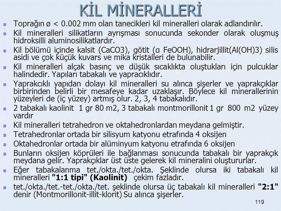 KİL MİNERALLERİ Toprağın ø < 0.002 mm olan tanecikleri kil mineralleri olarak adlandırılır. Toprağın ø < 0.002 mm olan tanecikleri kil mineralleri ola