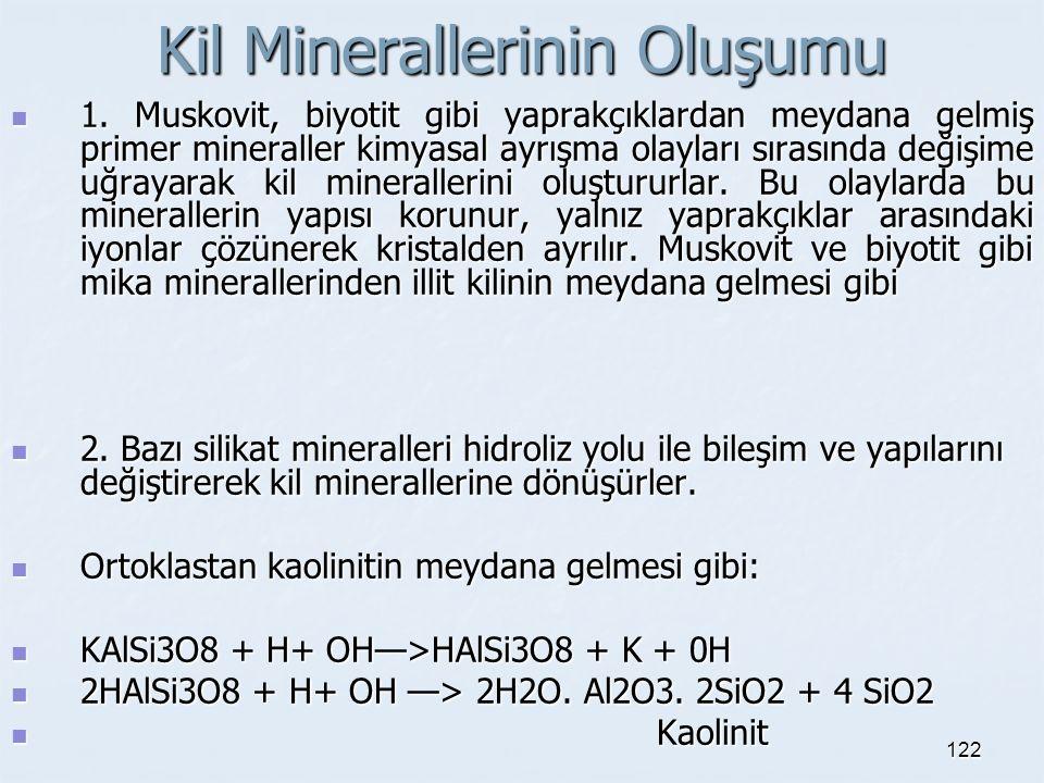 Kil Minerallerinin Oluşumu 1. Muskovit, biyotit gibi yaprakçıklardan meydana gelmiş primer mineraller kimyasal ayrışma olayları sırasında değişime uğr