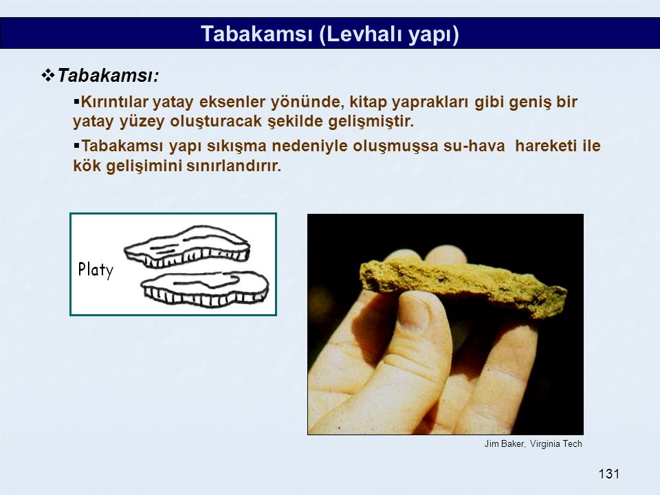131 Tabakamsı (Levhalı yapı)  Tabakamsı:  Kırıntılar yatay eksenler yönünde, kitap yaprakları gibi geniş bir yatay yüzey oluşturacak şekilde gelişmi