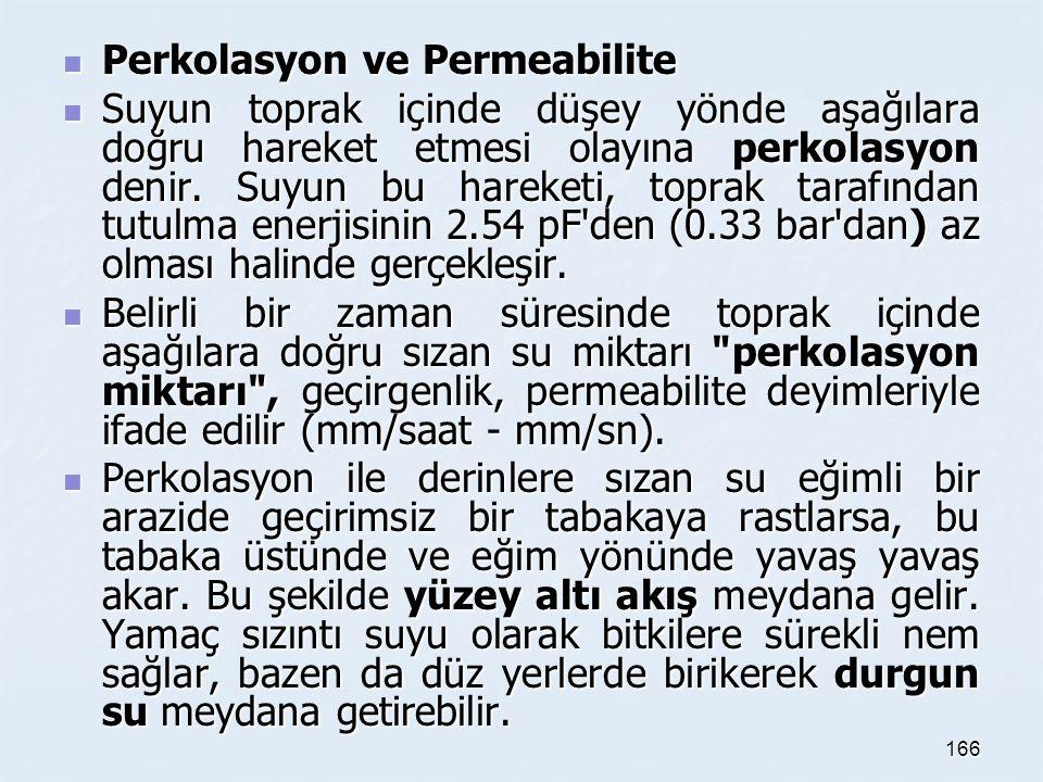 Perkolasyon ve Permeabilite Perkolasyon ve Permeabilite Suyun toprak içinde düşey yönde aşağılara doğru hareket etmesi olayına perkolasyon denir.