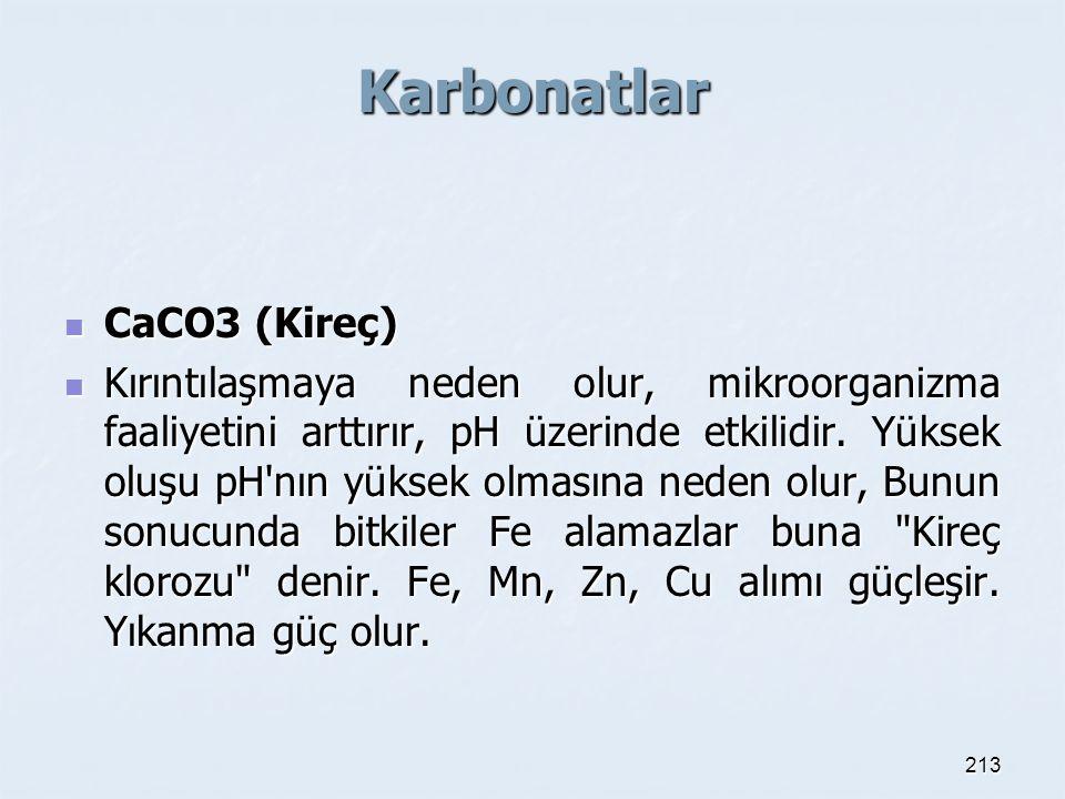 Karbonatlar CaCO3 (Kireç) CaCO3 (Kireç) Kırıntılaşmaya neden olur, mikroorganizma faaliyetini arttırır, pH üzerinde etkilidir.