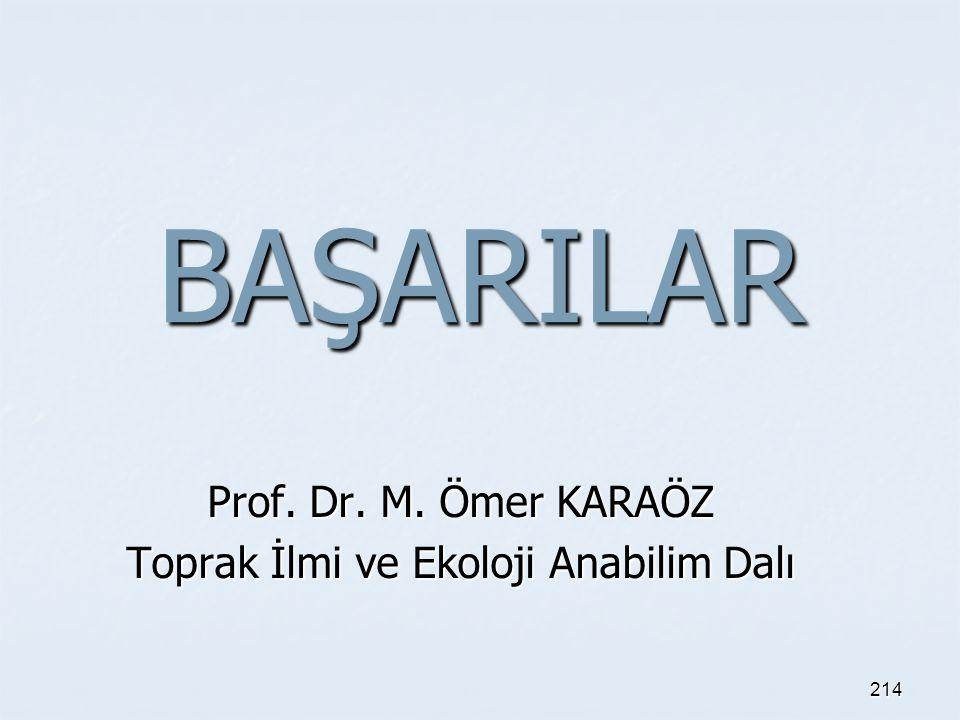 BAŞARILAR Prof. Dr. M. Ömer KARAÖZ Toprak İlmi ve Ekoloji Anabilim Dalı 214