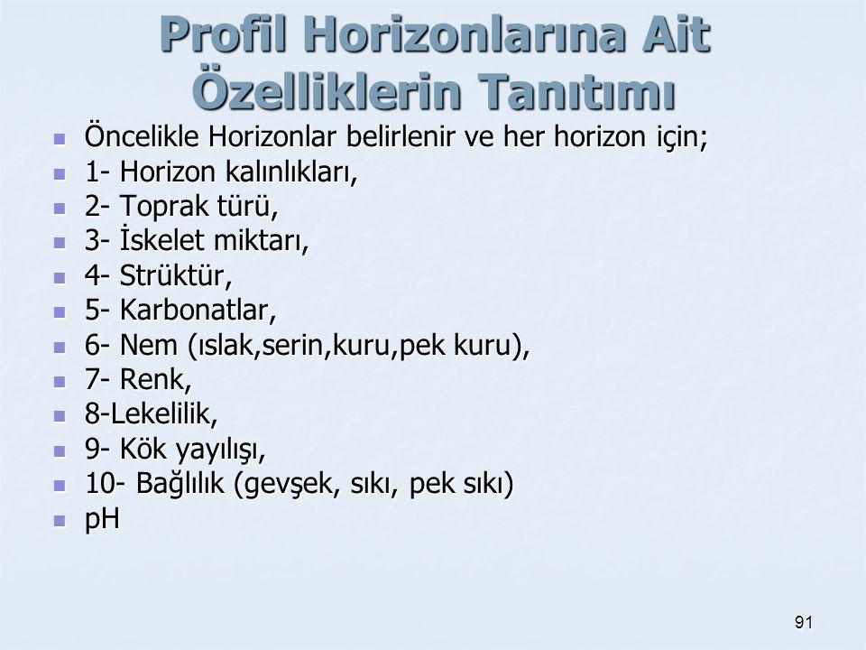 Profil Horizonlarına Ait Özelliklerin Tanıtımı Öncelikle Horizonlar belirlenir ve her horizon için; Öncelikle Horizonlar belirlenir ve her horizon için; 1- Horizon kalınlıkları, 1- Horizon kalınlıkları, 2- Toprak türü, 2- Toprak türü, 3- İskelet miktarı, 3- İskelet miktarı, 4- Strüktür, 4- Strüktür, 5- Karbonatlar, 5- Karbonatlar, 6- Nem (ıslak,serin,kuru,pek kuru), 6- Nem (ıslak,serin,kuru,pek kuru), 7- Renk, 7- Renk, 8-Lekelilik, 8-Lekelilik, 9- Kök yayılışı, 9- Kök yayılışı, 10- Bağlılık (gevşek, sıkı, pek sıkı) 10- Bağlılık (gevşek, sıkı, pek sıkı) pH pH 91