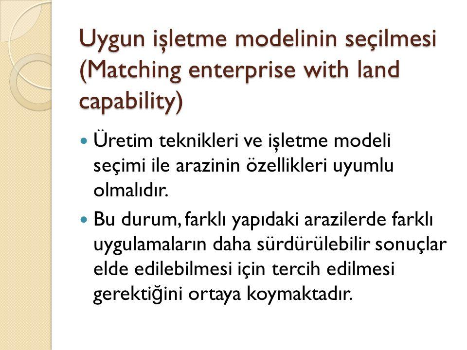 Uygun işletme modelinin seçilmesi (Matching enterprise with land capability) Üretim teknikleri ve işletme modeli seçimi ile arazinin özellikleri uyumlu olmalıdır.