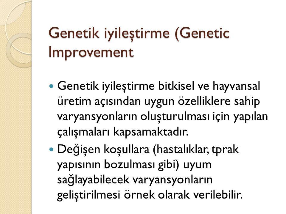 Genetik iyileştirme (Genetic Improvement Genetik iyileştirme bitkisel ve hayvansal üretim açısından uygun özelliklere sahip varyansyonların oluşturulması için yapılan çalışmaları kapsamaktadır.