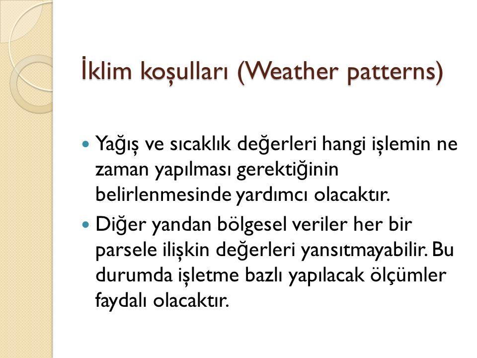 İ klim koşulları (Weather patterns) Ya ğ ış ve sıcaklık de ğ erleri hangi işlemin ne zaman yapılması gerekti ğ inin belirlenmesinde yardımcı olacaktır.