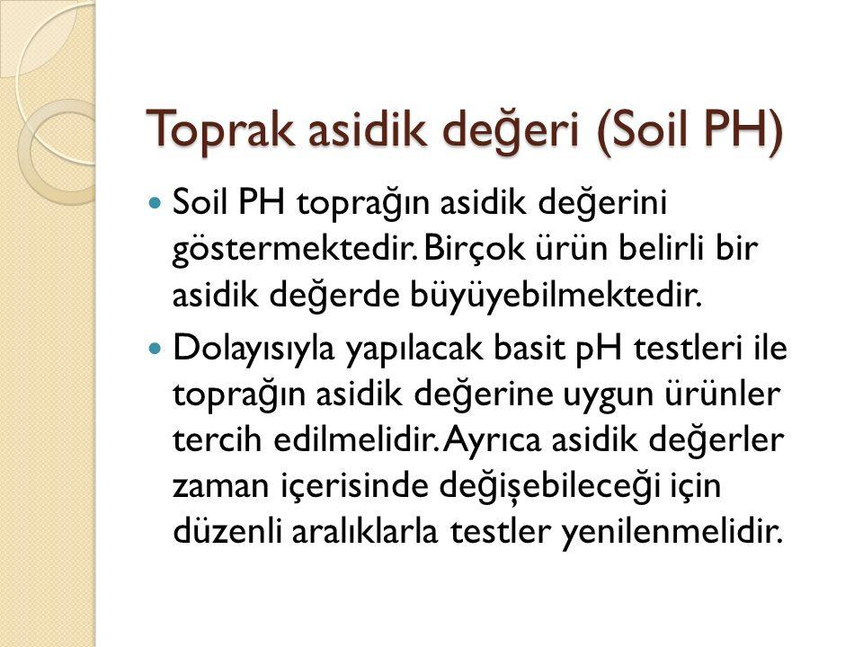 Toprak asidik de ğ eri (Soil PH) Soil PH topra ğ ın asidik de ğ erini göstermektedir.
