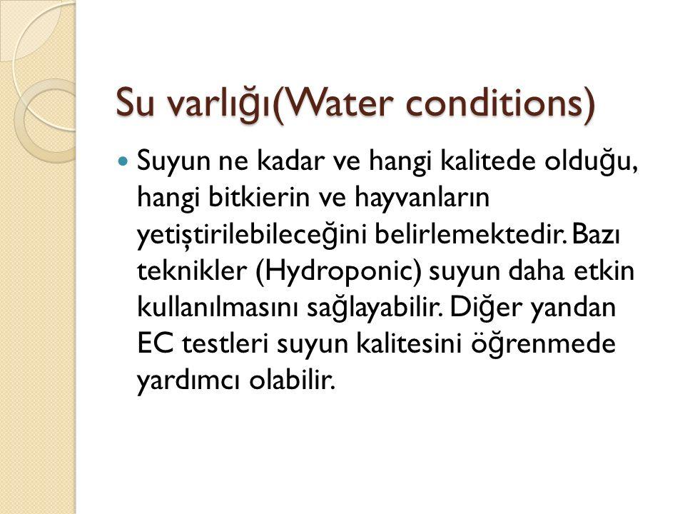 Su varlı ğ ı(Water conditions) Suyun ne kadar ve hangi kalitede oldu ğ u, hangi bitkierin ve hayvanların yetiştirilebilece ğ ini belirlemektedir.
