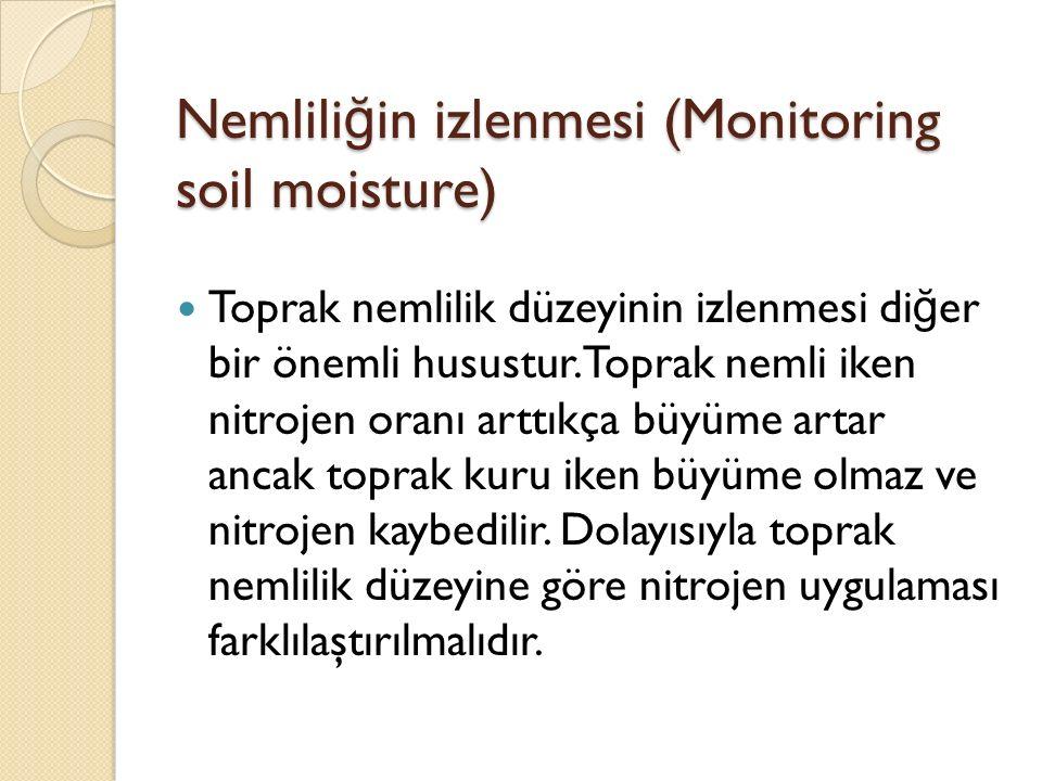 Nemlili ğ in izlenmesi (Monitoring soil moisture) Toprak nemlilik düzeyinin izlenmesi di ğ er bir önemli husustur.