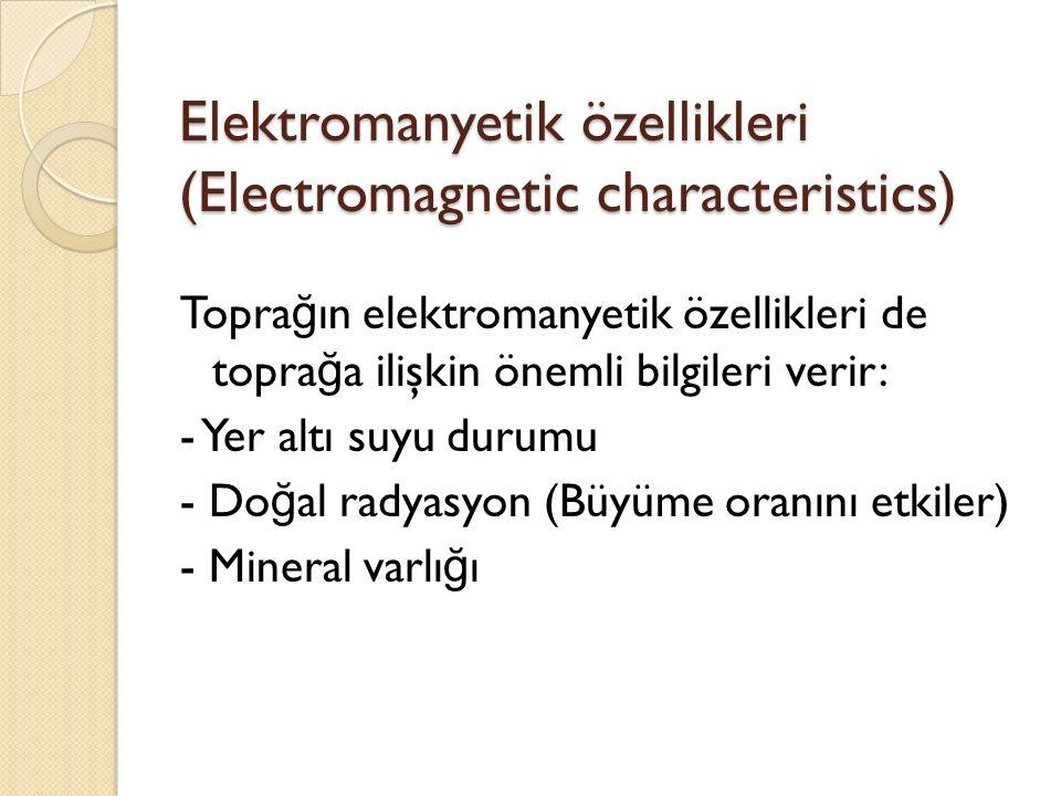 Elektromanyetik özellikleri (Electromagnetic characteristics) Topra ğ ın elektromanyetik özellikleri de topra ğ a ilişkin önemli bilgileri verir: - Yer altı suyu durumu - Do ğ al radyasyon (Büyüme oranını etkiler) - Mineral varlı ğ ı