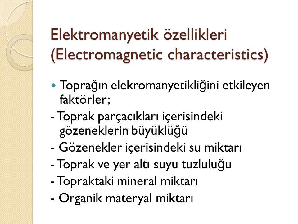 Elektromanyetik özellikleri (Electromagnetic characteristics) Topra ğ ın elekromanyetikli ğ ini etkileyen faktörler; - Toprak parçacıkları içerisindeki gözeneklerin büyüklü ğ ü - Gözenekler içerisindeki su miktarı - Toprak ve yer altı suyu tuzlulu ğ u - Topraktaki mineral miktarı - Organik materyal miktarı